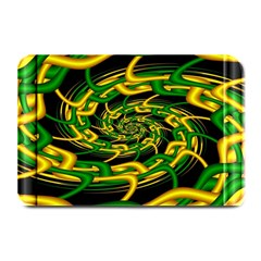 Green Yellow Fractal Vortex In 3d Glass Plate Mats by Simbadda