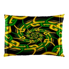 Green Yellow Fractal Vortex In 3d Glass Pillow Case by Simbadda