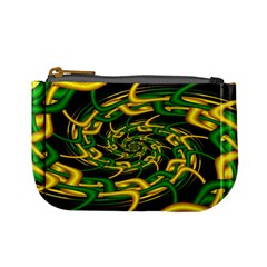 Green Yellow Fractal Vortex In 3d Glass Mini Coin Purses by Simbadda
