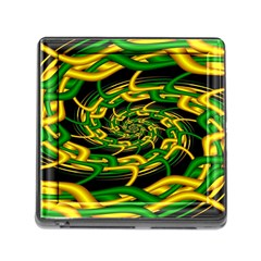 Green Yellow Fractal Vortex In 3d Glass Memory Card Reader (square) by Simbadda
