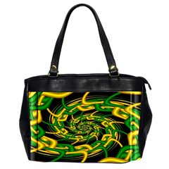 Green Yellow Fractal Vortex In 3d Glass Office Handbags (2 Sides)