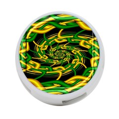 Green Yellow Fractal Vortex In 3d Glass 4 Port Usb Hub (two Sides)  by Simbadda