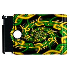Green Yellow Fractal Vortex In 3d Glass Apple Ipad 3/4 Flip 360 Case