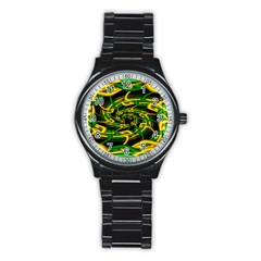 Green Yellow Fractal Vortex In 3d Glass Stainless Steel Round Watch by Simbadda