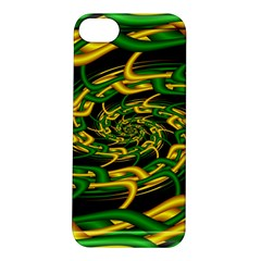 Green Yellow Fractal Vortex In 3d Glass Apple Iphone 5s/ Se Hardshell Case by Simbadda