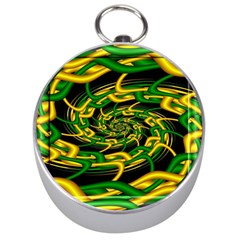 Green Yellow Fractal Vortex In 3d Glass Silver Compasses by Simbadda