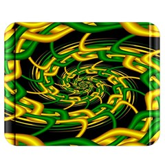 Green Yellow Fractal Vortex In 3d Glass Double Sided Flano Blanket (medium)  by Simbadda