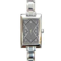 Black And White Line Abstract Rectangle Italian Charm Watch by Simbadda