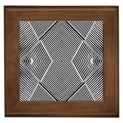 Black And White Line Abstract Framed Tiles by Simbadda
