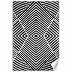 Black And White Line Abstract Canvas 24  X 36