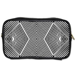 Black And White Line Abstract Toiletries Bags 2 Side by Simbadda