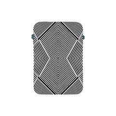 Black And White Line Abstract Apple Ipad Mini Protective Soft Cases by Simbadda