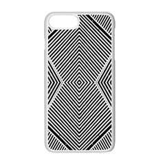 Black And White Line Abstract Apple Iphone 7 Plus White Seamless Case by Simbadda