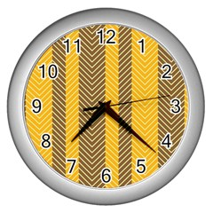 Brown And Orange Herringbone Pattern Wallpaper Background Wall Clocks (silver)