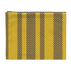 Brown And Orange Herringbone Pattern Wallpaper Background Cosmetic Bag (xl) by Simbadda