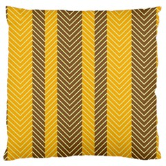 Brown And Orange Herringbone Pattern Wallpaper Background Large Cushion Case (two Sides) by Simbadda
