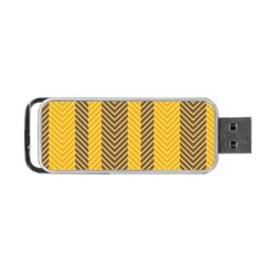 Brown And Orange Herringbone Pattern Wallpaper Background Portable Usb Flash (two Sides)