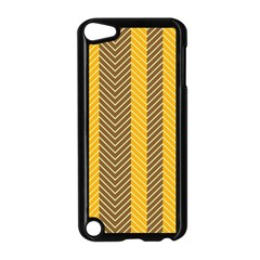 Brown And Orange Herringbone Pattern Wallpaper Background Apple Ipod Touch 5 Case (black) by Simbadda