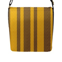 Brown And Orange Herringbone Pattern Wallpaper Background Flap Messenger Bag (l)