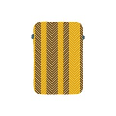 Brown And Orange Herringbone Pattern Wallpaper Background Apple Ipad Mini Protective Soft Cases by Simbadda