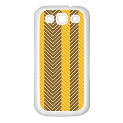 Brown And Orange Herringbone Pattern Wallpaper Background Samsung Galaxy S3 Back Case (white) by Simbadda