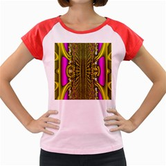 Fractal In Purple And Gold Women s Cap Sleeve T Shirt