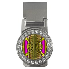 Fractal In Purple And Gold Money Clips (cz)  by Simbadda