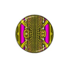 Fractal In Purple And Gold Hat Clip Ball Marker by Simbadda