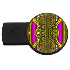 Fractal In Purple And Gold Usb Flash Drive Round (4 Gb) by Simbadda