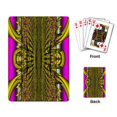 Fractal In Purple And Gold Playing Card by Simbadda