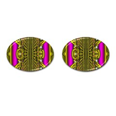 Fractal In Purple And Gold Cufflinks (oval)