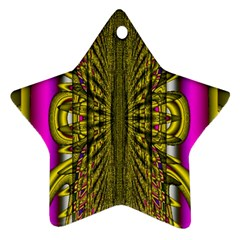 Fractal In Purple And Gold Star Ornament (two Sides) by Simbadda