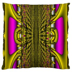 Fractal In Purple And Gold Large Cushion Case (two Sides) by Simbadda