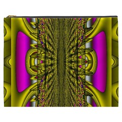 Fractal In Purple And Gold Cosmetic Bag (xxxl)  by Simbadda