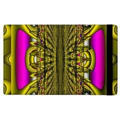 Fractal In Purple And Gold Apple Ipad 2 Flip Case by Simbadda