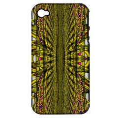 Fractal In Purple And Gold Apple Iphone 4/4s Hardshell Case (pc+silicone) by Simbadda