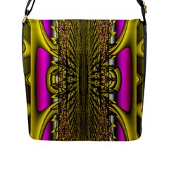 Fractal In Purple And Gold Flap Messenger Bag (l)