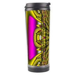 Fractal In Purple And Gold Travel Tumbler by Simbadda