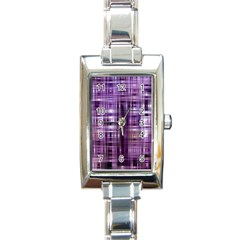 Purple Wave Abstract Background Shades Of Purple Tightly Woven Rectangle Italian Charm Watch by Simbadda