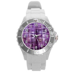 Purple Wave Abstract Background Shades Of Purple Tightly Woven Round Plastic Sport Watch (l)