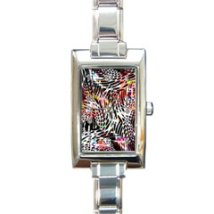 Abstract Composition Digital Processing Rectangle Italian Charm Watch