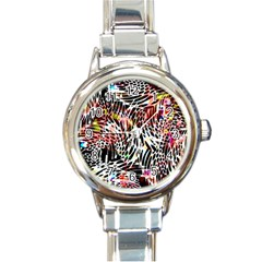 Abstract Composition Digital Processing Round Italian Charm Watch by Simbadda