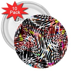 Abstract Composition Digital Processing 3  Buttons (10 Pack)