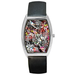 Abstract Composition Digital Processing Barrel Style Metal Watch by Simbadda