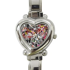 Abstract Composition Digital Processing Heart Italian Charm Watch by Simbadda