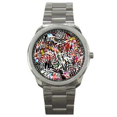 Abstract Composition Digital Processing Sport Metal Watch by Simbadda