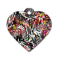 Abstract Composition Digital Processing Dog Tag Heart (two Sides) by Simbadda