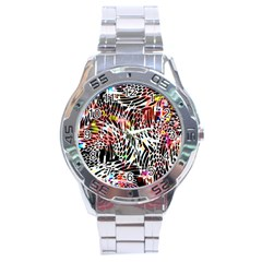 Abstract Composition Digital Processing Stainless Steel Analogue Watch by Simbadda