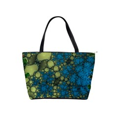 Holly Frame With Stone Fractal Background Shoulder Handbags by Simbadda
