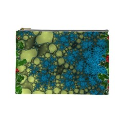 Holly Frame With Stone Fractal Background Cosmetic Bag (large)  by Simbadda
